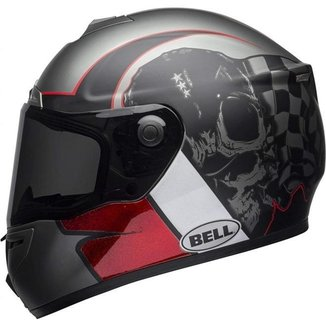 Capacete Bell SRT Hart Luck Skull Cinza/Branco/Vermelho - Cinza/Branco/Vermelho - 56