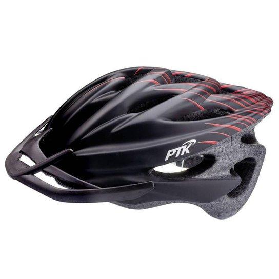 Capacete Ciclismo Adulto Resistente e Leve Bike Tamanho Regulável com Viseira - Preto+Vermelho