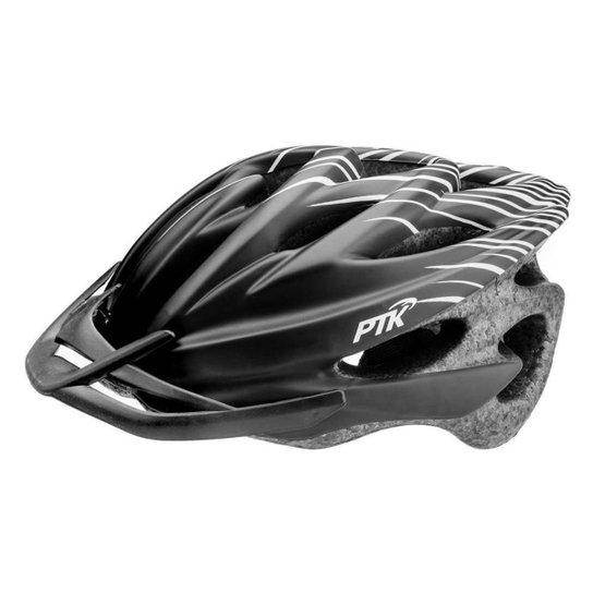 Capacete Ciclismo Adulto Resistente e Leve Bike Tamanho Regulável com Viseira - Preto+Branco