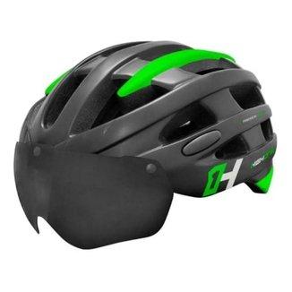 Capacete Ciclismo High One Casco Mtb Bike Led Com Óculos Preto/Verde