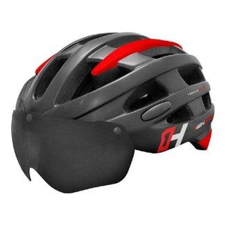 Capacete Ciclismo High One Casco Mtb Bike Led Com Óculos Preto/Vermelho