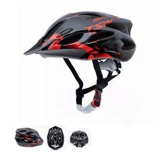 Capacete ciclismo TSW Raptor II preto e vermelho