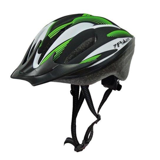 Capacete Ciclista Poker Windstorm Com Led Adulto - Preto+verde