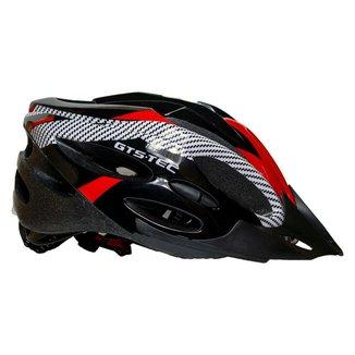 Capacete Com Sinalizador Led Ciclismo Bike Gts Vermelho/Branco
