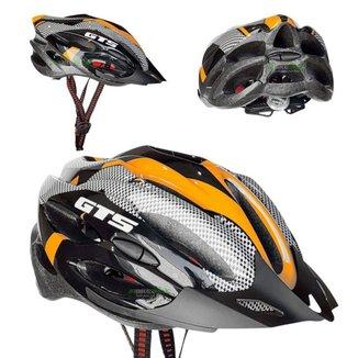Capacete Com Sinalizador Led Ciclismo Bike - Preto/