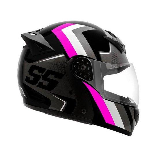 Capacete de Moto Articulado Mixs Helmets - Cinza+Rosa