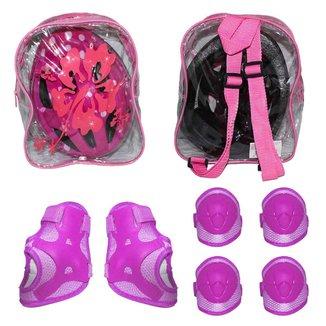 Capacete infantil bicicleta skate com kit proteção e mochila
