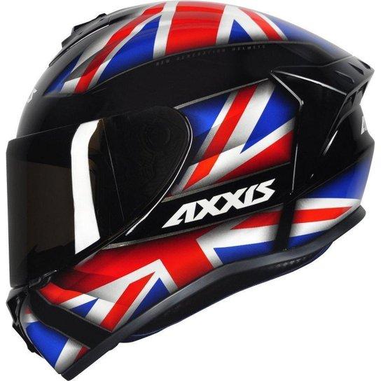 Capacete Moto Axxis Draken Uk Dekers Fosco Vector Fechado - Preto+Vermelho