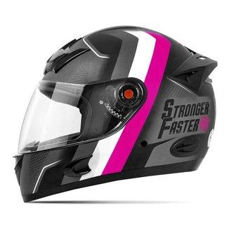 Capacete Moto Etceter Stronger Faster Fosco Cinza Rosa Tam. 56