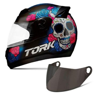 Capacete Moto Fechado Pro Tork Evolution G7 Mexican Skull Brilhante + Viseira Colorida