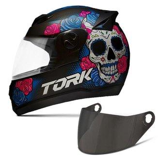 Capacete Moto Fechado Pro Tork Evolution G7 Mexican Skull Fosco + Viseira Colorida
