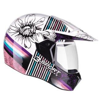 Capacete Moto Feminino Masculino Bieffe 3Sport Flora