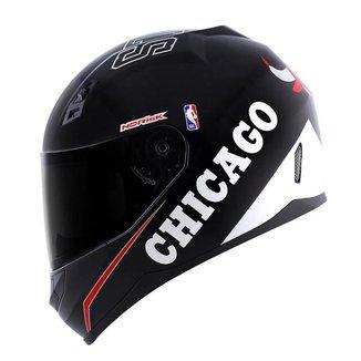 Capacete Norisk FF391 NBA Chicago Bulls Preto e Branco