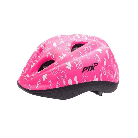 Capacete para Bicicleta Infantil Criança Bike PTK 4 a 12 anos - Rosa+Branco