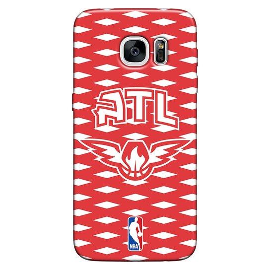 Capinha de Celular NBA Atlanta Hawks - Samsung Galaxy S6 Edge - Vermelho+Branco