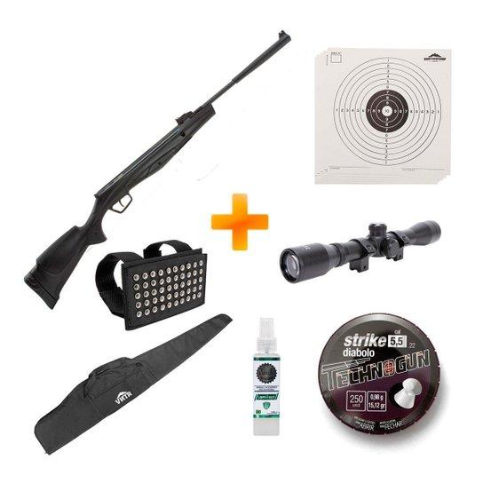Carabina de Pressão Beretta RX20 Dynamic Nitro 5.5mm +Luneta+Capa+Chumbinho+Alvos - Stoeger Airguns - Preto