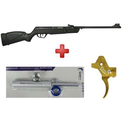 Carabina de Pressão CBC Jade Oxidada 5.5mm+Gatilho Ajustável+Kit Mola Gás Ram Quick Shot 45Kg - Unissex