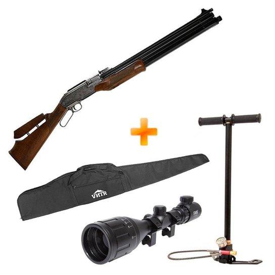 Carabina de Pressão Sumatra 500cc PCP 5.5mm + Bomba Manual + Luneta 4x16-50 + Capa - Rossi - Marrom