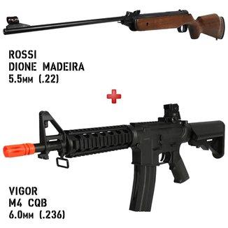Carabina Pressão Dione Madeira 5.5mm + Rifle Airsoft Spring Vigor M4 CQB Black