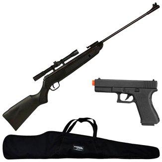 Carabina Rossi Sport 5.5mm + Luneta 4x20 + Pistola + Capa Simples 120cm