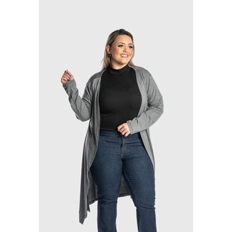 Cardigan Feminino Plus Size Juquitiba Brasil Cinza