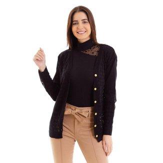 Cardigan kassis feminino tricot com botões