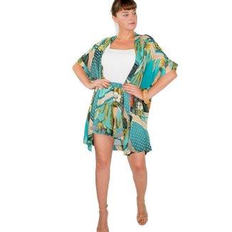 Cardigan Kimono Médio Viscose Estampado Floral Turquesa