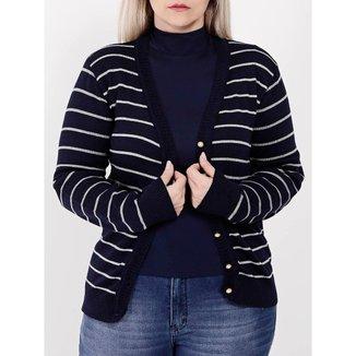 Cardigan Plus Size Feminino Azul Marinho