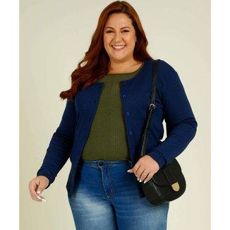 Cardigan Plus Size Feminino Botões Costa Rica - 10048049290