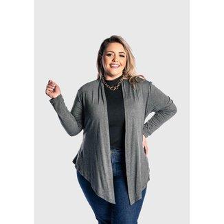 Cardigan  Plus Size  Kimono Feminino Juquitiba Brasil Cinza