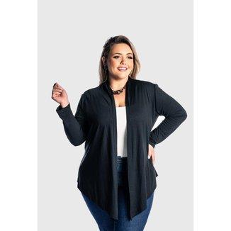 Cardigan  Plus Size  Kimono Feminino Juquitiba Brasil Preto