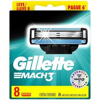 Carga para Aparelho de Barbear Gillette Mach3 8 Unidades