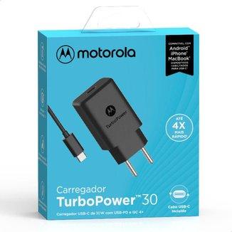 Carregador de Parede Motorola Turbo Power 30W 100-240V Com Cabo USB Tipo C Preto
