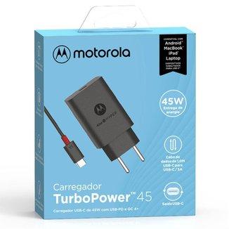 Carregador De Parede Motorola Turbo Power 45w Com Cabo Usb-C