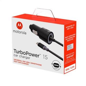 Carregador Veicular Motorola Turbo Power 15W 100-240V Com Cabo USB-C