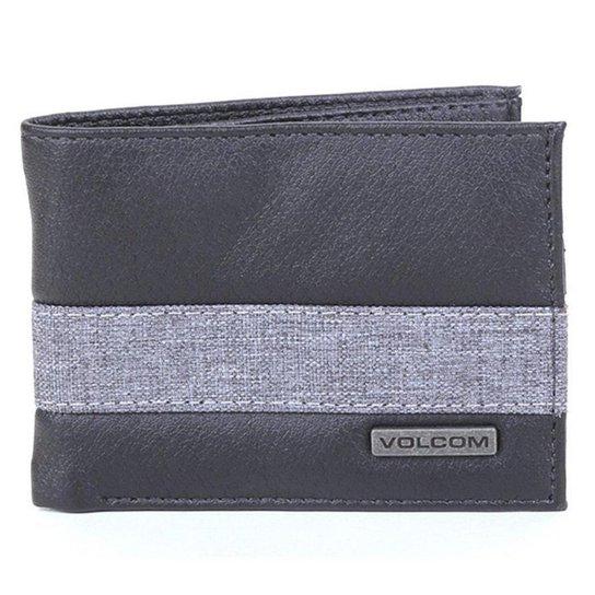 Carteira Volcom Color Block Stone - Preto+Cinza