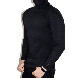 Casaco Cacharréu De Ribana Tipo Lã Sintética Masculina com Gola Alta B38