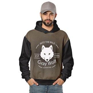 Casaco de Moletom Gray Wolf o Grande Lobo Di Nuevo Masculino
