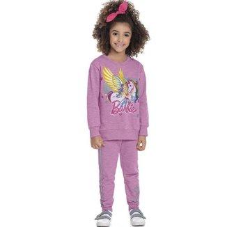 Casaco Infantil Menina Em Moletom Jet Peluciado, Barbie Dreamtopia, Produto Oficial - Fakini