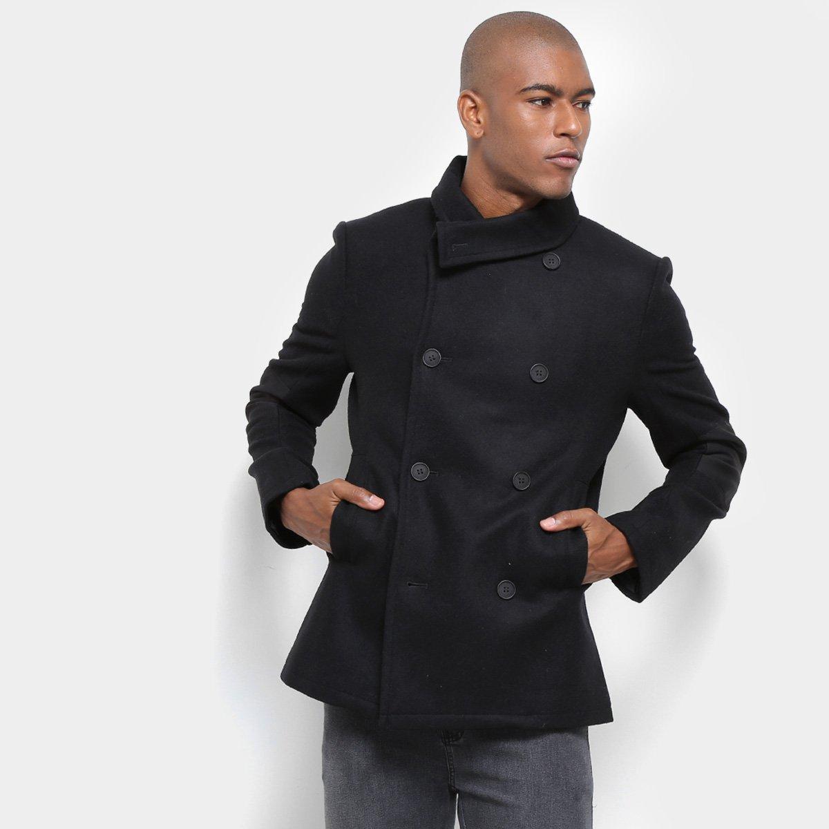8b379a1ad8484 Casaco Lã Calvin Klein Masculino Gola Assimétrica Botões Masculino - Preto  - Compre Agora