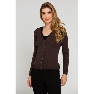 Casaco Ralm tricot básico com botões - Cinza