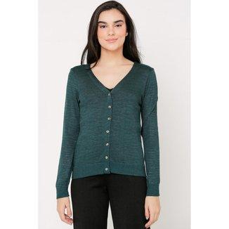 Casaco Ralm tricot com botões - Verde Mescla