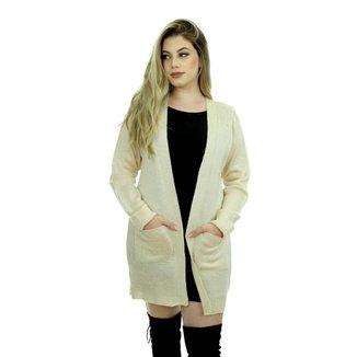 Casaco Tricot Glaúcia Feminino Shopping do Tricô Lã Bolso