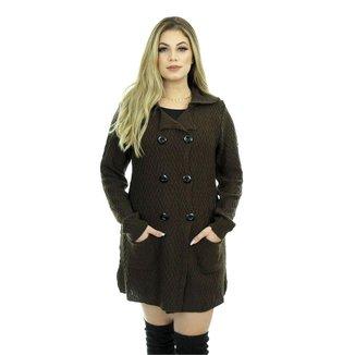 Casaco Tricot Mirela Shopping do Tricô Inverno Lã Sobretudo