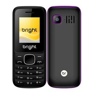 Celular Barra Dual Chip com Câmera Mp3 e Bluetooth Preto com Roxo 417 Bright
