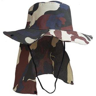 Chapéu Australiano Com Proteção De Pescoço Bege Camuflado Poliéster