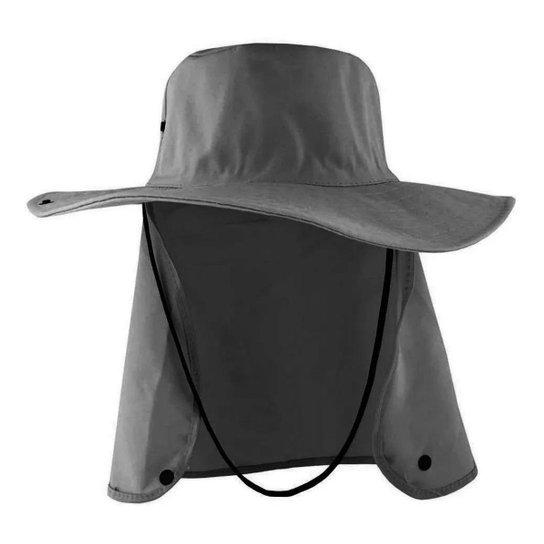 Chapéu Australiano Com Proteção De Pescoço Cinza Liso Poliéster - Cinza