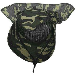 Chapéu Australiano Cor Verde Camuflado Com Proteção E Tela Pesca Camping Poliéster