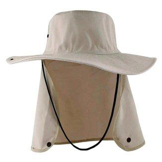 Chapéu Bege Claro Com Proteção De Pescoço Australiano Poliéster