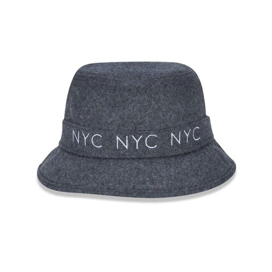 Chapéu Bucket New Era NYC   Masculino - Cinza